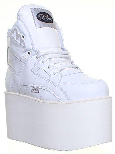 Buffalo  1300-10, Baskets mode pour femme Blanc - blanc