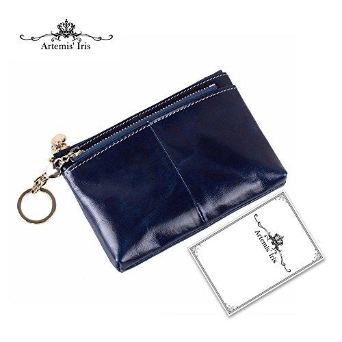 Artemis'Iris Womens Mini Portafoglio compatto Modificare i gettoni Cards Holder Chiavi Oraganizer Cera di lusso in pelle doppia cerniera corta tasca borsa vendita calda, blu blue
