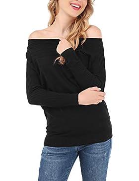 FISOUL Mujer Suéter Moda sin Hombro Jersey Casual Prendas de Punto Cuello Barco Manga Batwing Mangas Largas Camiseta...