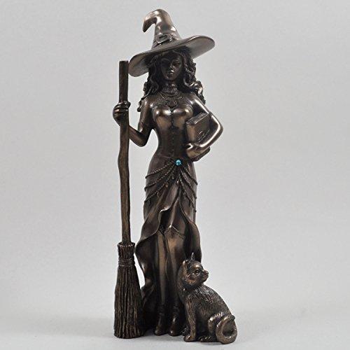 Fiesta Gifts Bronce Color Bruja y Gato Negro Figura Decorativa de Figura Decorativa