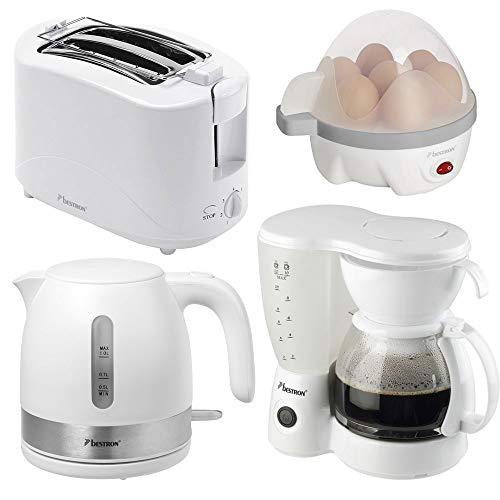 4er Frühstücks Set Kaffee Maschine Wasser Eier Kocher 2-Scheiben Toaster weiß Küchen Geräte