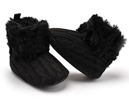 Butterme Bébés garçons filles douce Sole Anti Slip hiver chaud bottes Säuglingsvor walker chaussures de neige garnis de chaussettes de fourrure Noir