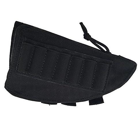 Clkj Dealetech Portable Ammo Pouch tactique militaire en nylon Buttstock Coque cartouche support Sac de Bullet Gun Holster Shotgun Fusil Coque pour extérieur Chasse Wargame CS Field Gear Accessoires,