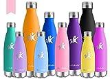 KollyKolla Vakuum Isolierte Edelstahl Trinkflasche, 750ml BPA Frei Wasserflasche Auslaufsicher, Thermosflasche für Sport, Outdoor, Fitness, Kinder, Schule, Kleinkinder, Kindergarten (Rosa)