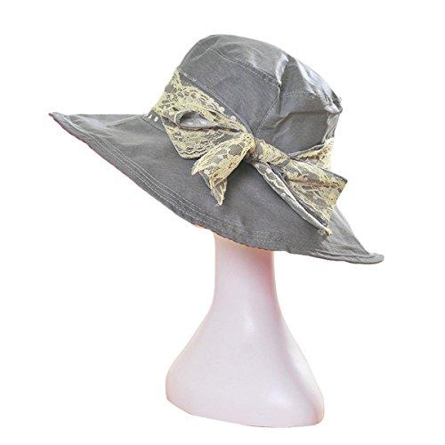 TININNA Femme Chapeau Pliable de Soleil Coton Casquette Large Bord Eté Plage Voyage Anti-UV Gris