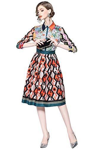 LAI&MENG Damen Elegant 3/4 Ärmel Midikleid mit Blumenmuster und Knopfleiste Vorne Swing Casual A-Linie Party Kleid