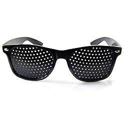 Hot Black Unisex Vision Care Pin hole Eyeglasses pin hole Glasses Eye Exercise Eyesight Improve Plastic Natural Healing GYH