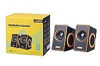 MTK K3353 2.0 10 W Speaker with 3.5 mm Jack and USB - Black/Gold
