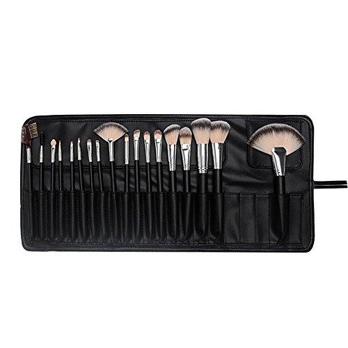 maquillage brosses pinceaux de maquillage 18 pcs manche en bois synthétique naturel oeil du visage