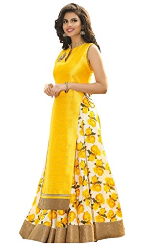 M&M World Women\'s Yellow Banglori Silk Indo-Western Lehenga-Choli