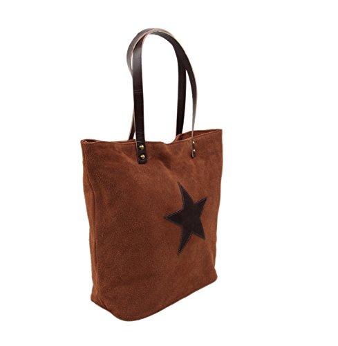 """Slingbag """"stella III XL Shopper/borsa a tracolla in vera pelle scamosciata/scelta di colori, Beige (grigio) - Stella III beige marrone"""