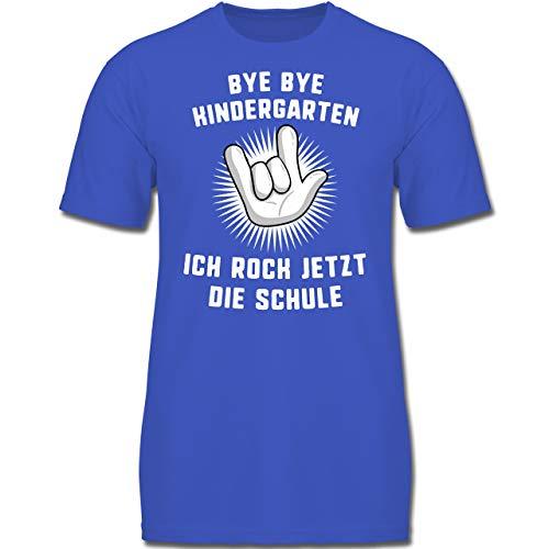 lanfang - Bye Bye Kindergarten Ich Rock jetzt die Schule Hand - 128 (7-8 Jahre) - Royalblau - F130K - Jungen Kinder T-Shirt ()