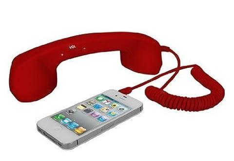 Demarkt rétro Combiné téléphone microphone filaire pour les smartphones et les téléphones cellulaires écouteur pour iPhone iPad Samsung Galaxy HTC etc- fiche stéréo 3,5 mm - Rouge