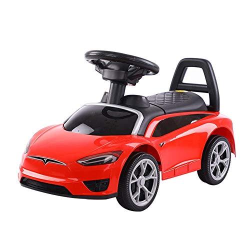 Hejok Twist Car Blau, Laufrad Kinder Twist Auto Junge Schlittschuhe 1-3 Jahre Alt Jo-Jo-MäDchen Mit Musik VierräDrigen Elektroauto Schritt, Red