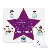 Tappetino per mouse con motivo geometrico matematico a forma di piramide di Natale, pupazzo di neve e stelle.