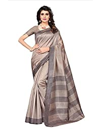 Fragile Women's Bhagalpuri Silk Printed Saree With Blouse Piece.(Bhagalpuri 724_Beige_Free Size)