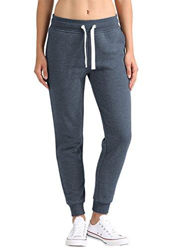 DESIRES Derby Damen Sweathose Sweatpants Relaxhose Mit Fleece-Innenseite Und Kordel Regular Fit, Größe:XS, Farbe:Insignia Blue Melange (8991)