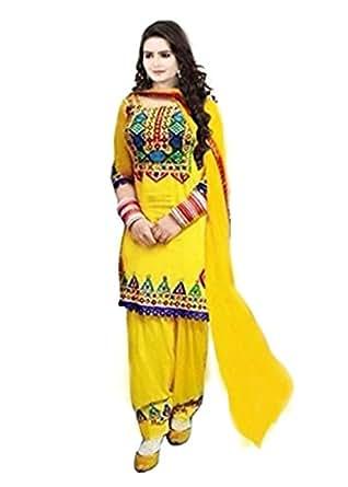 SiyaRam Women's Punjabi Kudi Orange Dress Material (SD1294_Orange_Free Size)