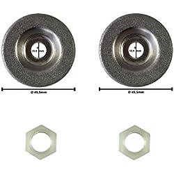 2 disques abrasifs inclus écrou pour les stations d'affûtage électriques. Dimensions: voir les images compatibles avec Güde Kraft Universal Westfalia Parkside Workzone et autres.
