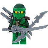 LEGO Ninjago Minifigur grüner Ninja Lloyd aus Set 70596 Samurai X Cave Chaos incl. 4 GALAXYARMS Schwertern