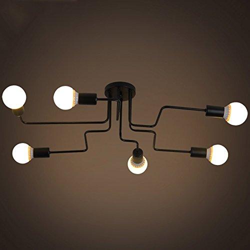 6 Tiffany Deckenleuchte (BAYCHEER Industrielampe Deckleuchte Deckenlampe 8 Flammige Lampenfassung Schmiedeeisen Lampe Kronleuchte Pendellampe (6 lampen))