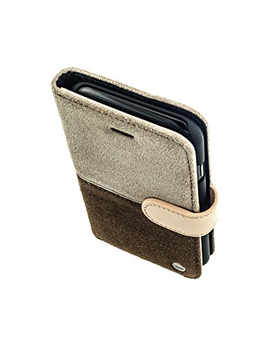 QIOTTI >             Apple iPhone 7 (4,7&quot;)             < incl. PANZERGLAS H9 HD+ Geschenbox Booklet Wallet Case Hülle Premium Tasche aus echtem Leder mit Kartenfächer. Edel verpackt incl. Stoffbeutel. HALF RAW KOLLEKTION in  BRAUN