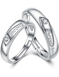 Chaomingzhen 925 Sterling Silber Zirkonia Forever Love öffnung Ringe für Paare Einstellbare Größe