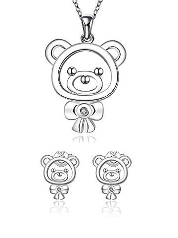 Ensembles de bijoux pour filles, boucles d'oreilles pour enfants + pendentif pour cadeaux avec plaqué argent par Borong
