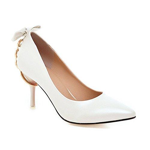 Adee Damen Bögen massiv High-Heels synthetic-and-leather Pumpen Schuhe Weiß