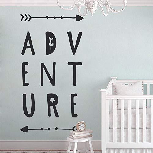 Niedliche Abenteuer Wandtattoo, Kinderzimmer Wandkunst Vinyl Aufkleber, Baby Mädchen Schlafzimmer Dekoration, Baby-Dusche-Geschenk, Typografie, 57X107cm