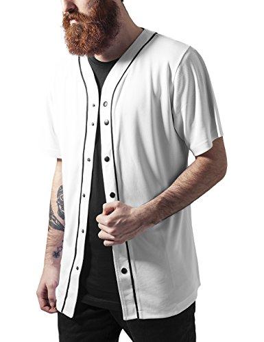 Urban Classics Baseball Mesh Jersey-T-shirt  Uomo, Mehrfarbig (wht/blk 224), Medium