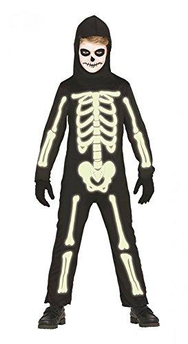 Halloween Overall Skelett LEUCHTEND Jungen Mädchen Kinder-Kostüm phosphoreszierend Knochen, Kindergröße:134 - 7 bis 9 (In Halloween Kostüme The Dark Skelett Glow)