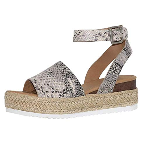 Kaister Damen Sommer Sandalen Wedges Leopard Casual Schuhe Strap Gladiator Roman Sandalen Schnalle Keile Leopard Retro Peep Toe Sandalen