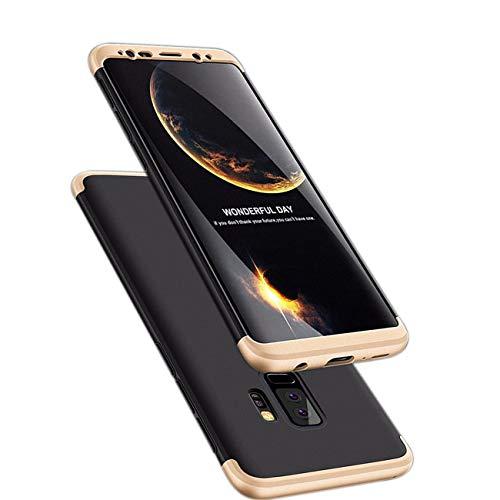 Galaxy s9 Plus Hülle 3 in 1 Handy Hülle Ultra Dünn Hartschale 360 Grad Full Body Schutz Stoßdämpfend Anti-Fingerabdruck Glatte Griff Hybrid Etui Bumper Case Cover (Galaxy S9, Schwarz und Gold) Dünne Handy