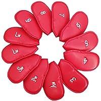 VORCOOL 12PCS Golf Iron Head Covers Club Iron Putter Head Protector (Rojo)