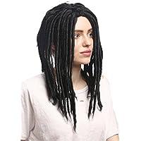 WIG ME UP ® - 90674-ZA103 Peluca Carnaval hombres mujeres rastas Reggae Rastafari Dreads negro 40 cm
