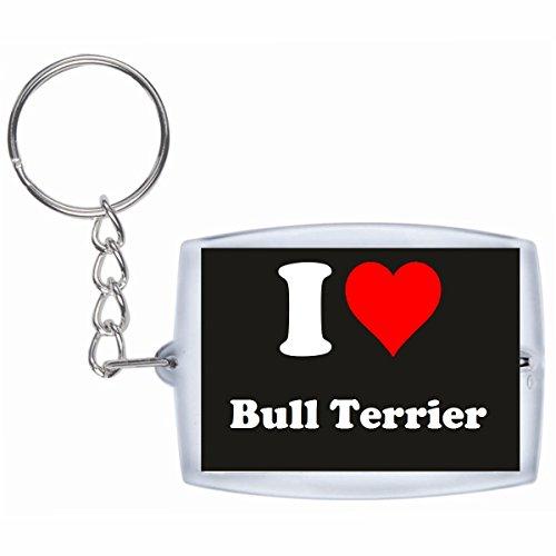 Druckerlebnis24 Schlüsselanhänger I Love Bull Terrier in Schwarz, eine tolle Geschenkidee die von Herzen kommt| Geschenktipp: Weihnachten Jahrestag Geburtstag Lieblingsmensch