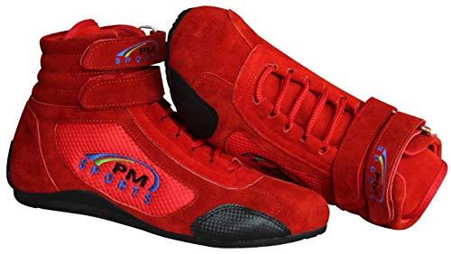PM Sports Stivali per Bambini per Kart, Corse, Rally, Pista da Corsa, Pelle Scamosciata e Fodera in Rete Tutte Le Taglie e Colori (Rosso, 36 EU)