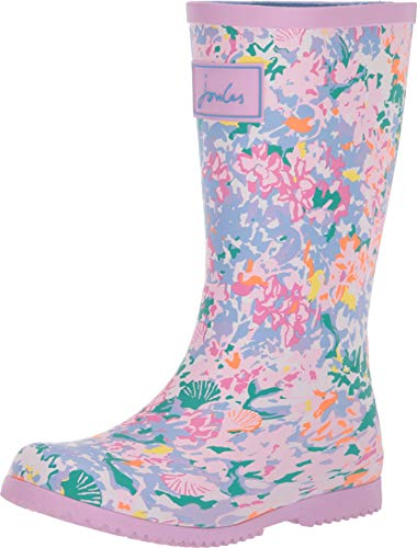 Joules Mädchen Roll Up Welly Gummistiefel, Weiß (White Mermaid Ditsy Whtmmddtsy), 28 EU (10 UK ) Joules Welly