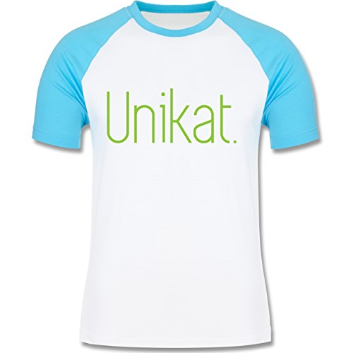 Statement Shirts - Unikat - zweifarbiges Baseballshirt für Männer Weiß/Türkis