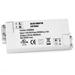 Neuftech - 60W LED Trasformatore Driver, LED Alimentatore DC 12V 5A per Striscia Luce LED