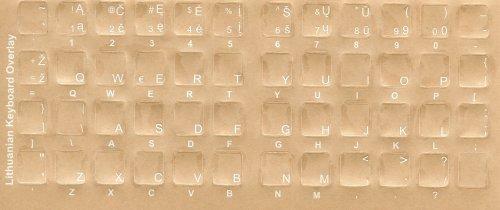 Litauische Tastatur-Sticker–Etiketten–Overlays mit Weiß Zeichen für schwarz Computer...