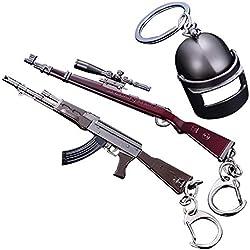 BBYaki Pistolet Keychain 98K Sniper Et Fusil AKM Et Casque Niveau 3 pour Porte-Clés Pendentif pour Hommes Arme en Forme