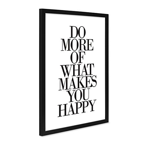 PHOTOLINI Design-Poster mit Bilderrahmen Schwarz 'What Makes You Happy' 30x40 cm Schwarz-Weiss Typographie Spruch