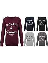 Womens Ladies Girls Long Cocaine And Caviar Print Jumper Pullover Sweatshirt Top T-shirt