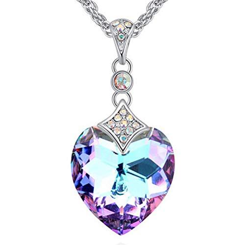DRSMDR Herzförmige Damenkette Mit Klarem Kristall, Swarovski-Vergoldung, Mit Verlängerter Kette, Hypoallergenem Schmuck,Lila Licht,Einheitsgröße -