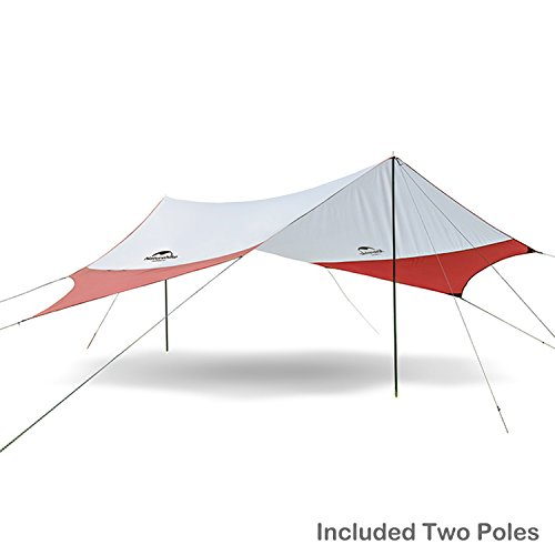 Topnaca Portable Outdoor Sunshade Camping Sun Shelter Awning Included Poles, Lightweight Waterproof Sun-proof 204.7 x 181' for Tent Camping, Hiking, Fishing, Beach, Picnic (Red&Grey - L)