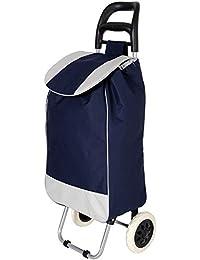 KriShyam Folding Essential Shopping Trolley-Luggage-Bag-with-2 wheels (Navy)