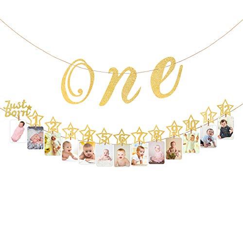 Hifot Baby 1. Geburtstag Dekoration mit Hochstuhl Glitter Gold Baby Party Dekoration, monatliche Meilenstein Baby Foto Bunting für Neugeborene bis 12 Monate ersten Geburtstag Dekor Set (Gold) (Ersten Geburtstag Dekoration)