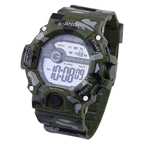 YEARNLY Multifunktionale Outdoor-Sport-Disc digitale elektronische Uhr Student beiläufige Tarnung elektronische wasserdichte Mode-Uhr (Mk Rose Gold-männer Uhren)